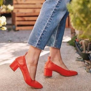 Everlane Day Heel Red Leather Shoes  9.5